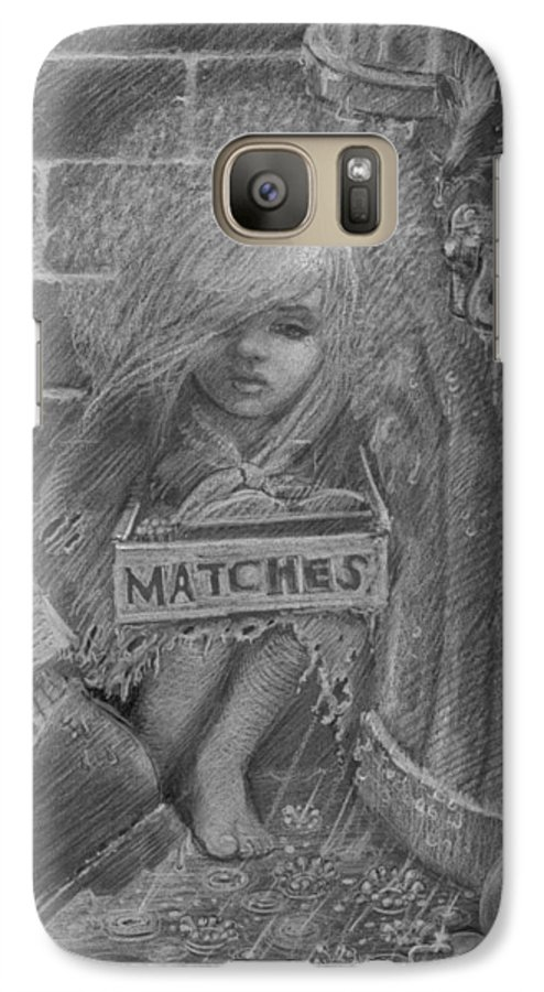 Hans Christian Andersen Galaxy S7 Case featuring the drawing The Little Matchseller by David Dozier