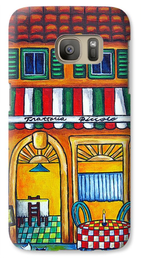 Blue Galaxy S7 Case featuring the painting The Little Trattoria by Lisa Lorenz