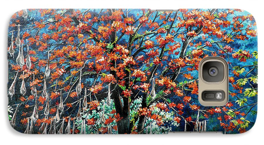 Tree Painting Mountain Painting Floral Painting Caribbean Painting Original Painting Of Immortelle Tree Painting  With Nesting Corn Oropendula Birds Painting In Northern Mountains Of Trinidad And Tobago Painting Galaxy S7 Case featuring the painting The Mighty Immortelle by Karin Dawn Kelshall- Best