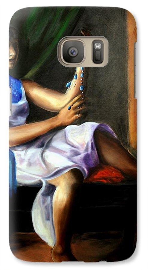 Portrait Galaxy S7 Case featuring the painting The Necklace by Maryn Crawford