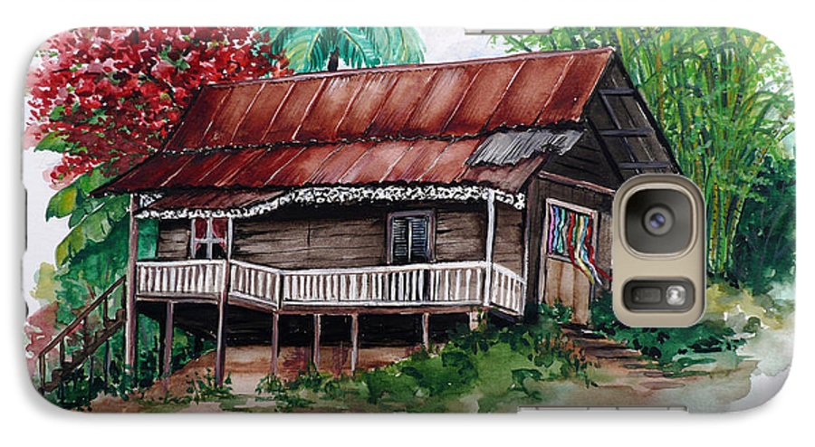 Tropical Painting Poincianna Painting Caribbean Painting Old House Painting Cocoa House Painting Trinidad And Tobago Painting  Tropical Painting Flamboyant Painting Poinciana Red Greeting Card Painting Galaxy S7 Case featuring the painting The Old Cocoa House by Karin Dawn Kelshall- Best