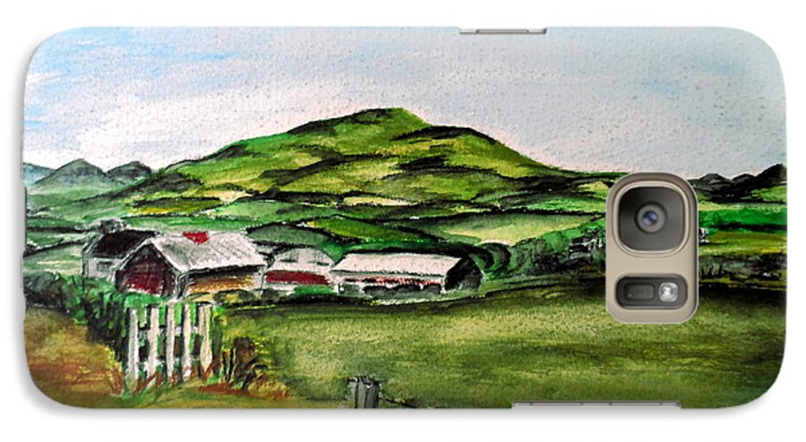 Landscape Galaxy S7 Case featuring the painting The Old Farm by Alan Hogan
