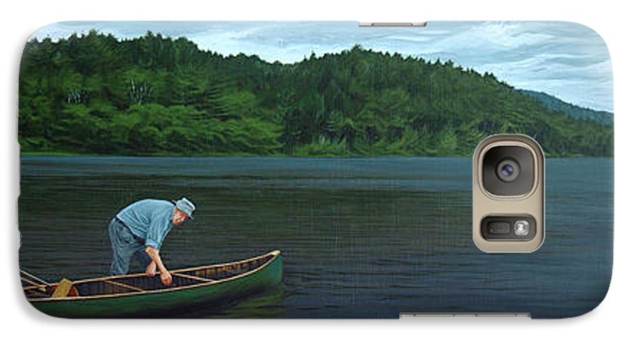 Landscape Galaxy S7 Case featuring the painting The Old Green Canoe by Jan Lyons