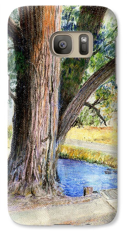 Tree Galaxy S7 Case featuring the pastel The Old Tree by Arline Wagner