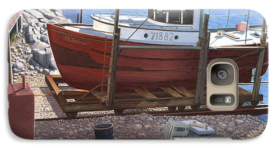 Fishing Boat Galaxy S7 Case featuring the painting The Red Troller by Gary Giacomelli