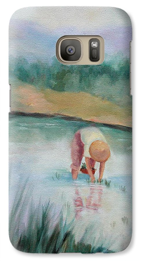 Figurative Galaxy S7 Case featuring the painting The Rice Planter by Ginger Concepcion