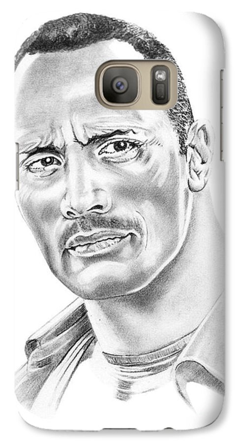 Pencil Galaxy S7 Case featuring the drawing The Roc  Dwain Johnson by Murphy Elliott