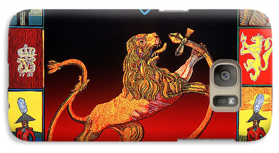 Historic Galaxy S7 Case featuring the mixed media The Royal Norwegian Lion by Jarle Rosseland