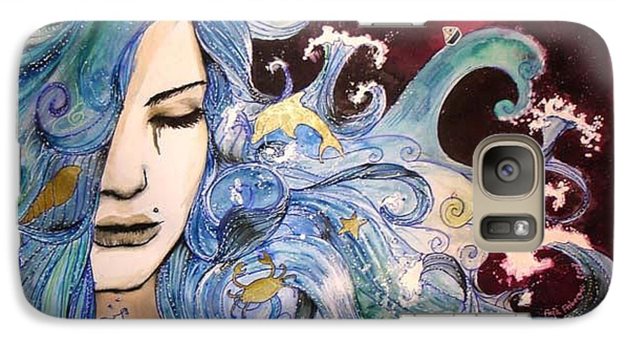 Sea Dolphin Tears Cry Boat Wave Galaxy S7 Case featuring the drawing The Sea Inside by Freja Friborg