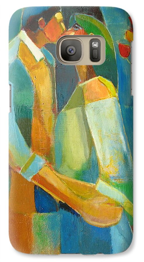 Love Abstract Galaxy S7 Case featuring the painting The Sweet Kiss by Habib Ayat