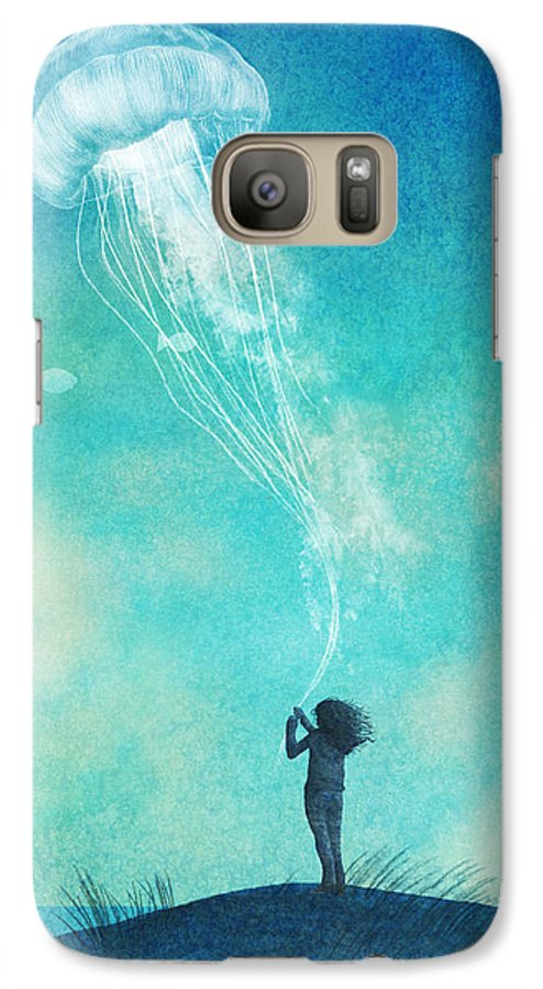 Jellyfish Galaxy S7 Case featuring the drawing The Thing About Jellyfish by Eric Fan