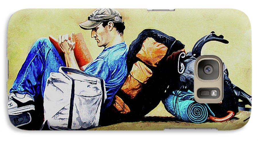 Travel Galaxy S7 Case featuring the painting The Traveler 2 - El Viajero 2 by Rezzan Erguvan-Onal