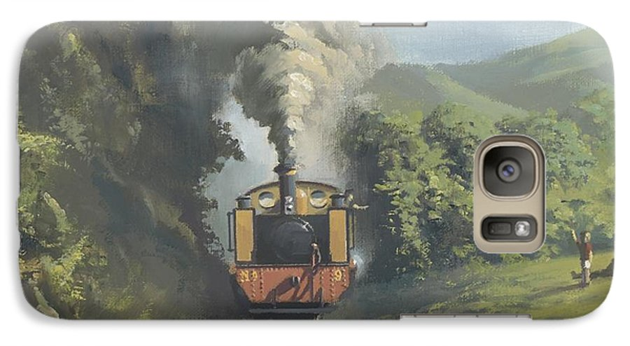 Steam Galaxy S7 Case featuring the painting The Vale Of Rheidol Railway by Richard Picton