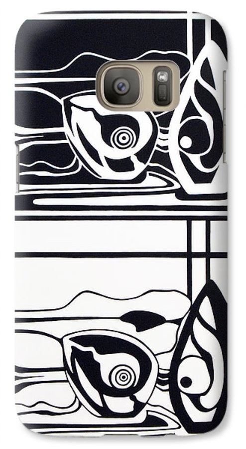 Avocadoe Galaxy S7 Case featuring the painting The Very Still Life Of An Avocado by Judy Henninger