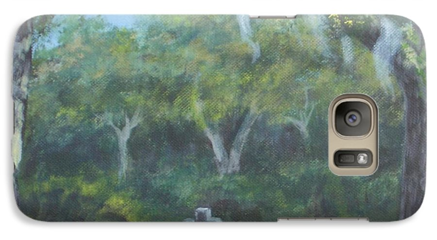 Landscape Cemetary Ghost Tree Florida Orlando Greenwood Galaxy S7 Case featuring the painting The Visitor 75usd by Karen Bowden