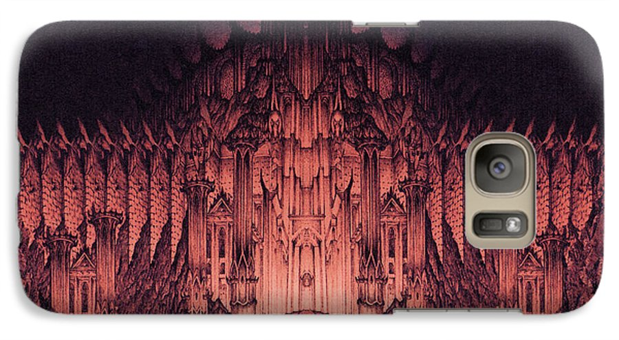 Barad Dur Galaxy S7 Case featuring the drawing The Walls Of Barad Dur by Curtiss Shaffer