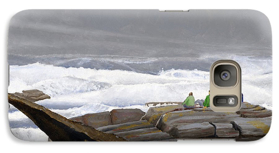 Waves Galaxy S7 Case featuring the painting The Wave Watchers by Dominic White