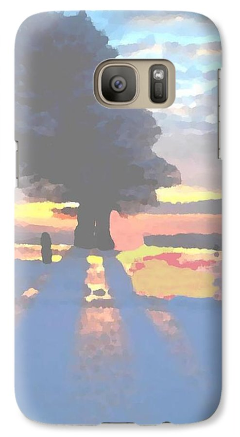 Sky.clouds.winter.sunset.snow.shadow.sunrays.evening Light.tree.far Forest. Galaxy S7 Case featuring the digital art The Winter Lonely Tree by Dr Loifer Vladimir