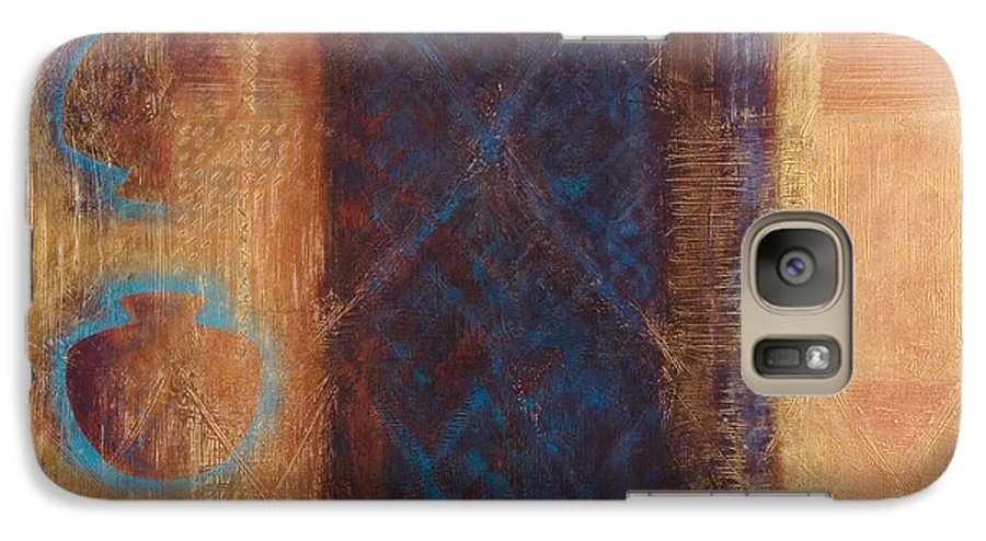 Abstract Galaxy S7 Case featuring the painting The X Factor Alchemy Of Consciousness by Kerryn Madsen-Pietsch