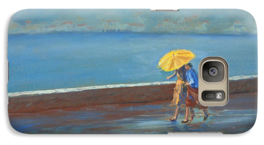 Rain Galaxy S7 Case featuring the painting The Yellow Umbrella by Jerry McElroy