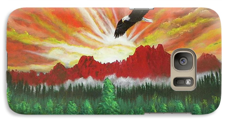 Acrylic Galaxy S7 Case featuring the painting They That Wait Upon The Lord  Isa 40 31 by Laurie Kidd
