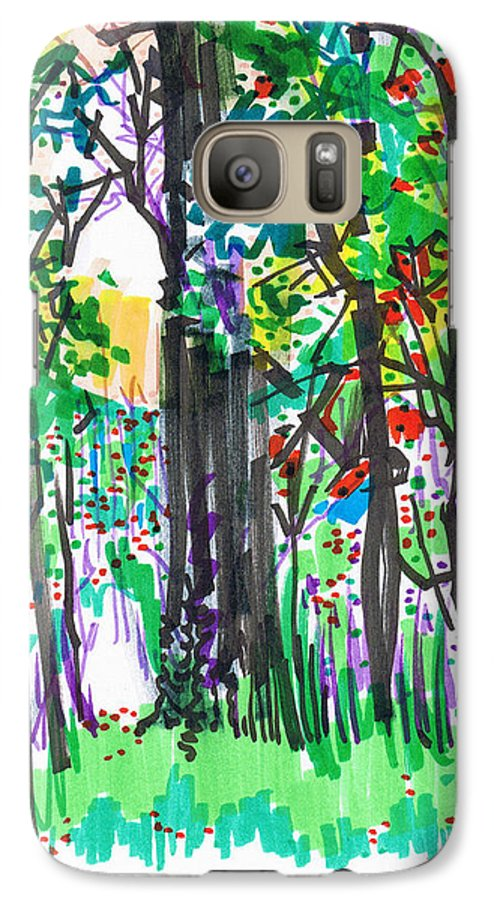 Forest Galaxy S7 Case featuring the drawing Thicket by Seth Weaver