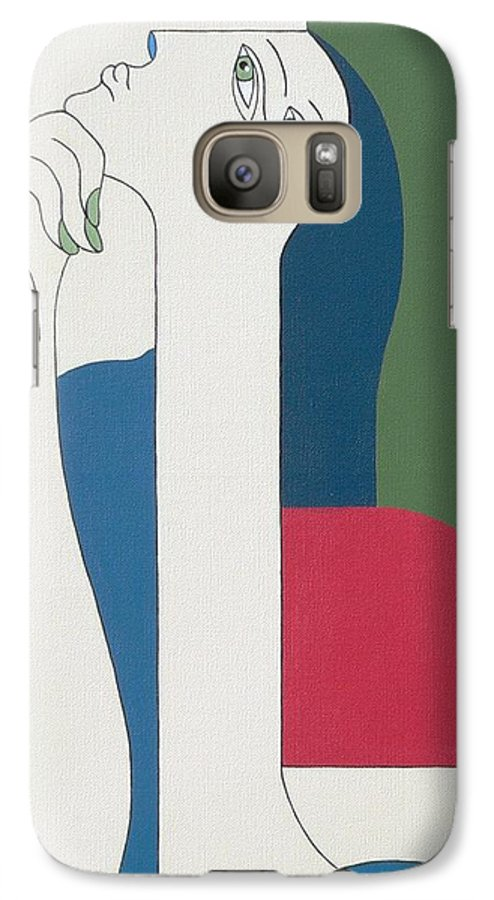 Modern Special Women Bleu Red Green Galaxy S7 Case featuring the painting Thinking by Hildegarde Handsaeme