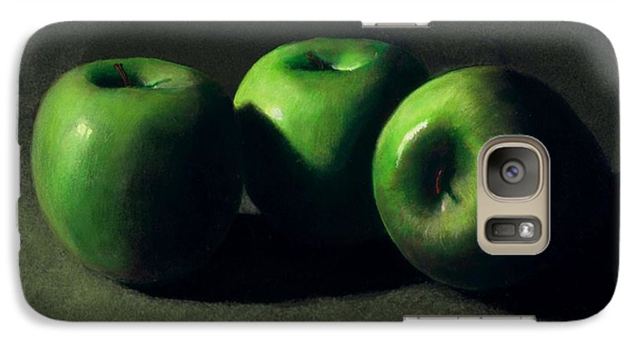 Still Life Galaxy S7 Case featuring the painting Three Green Apples by Frank Wilson