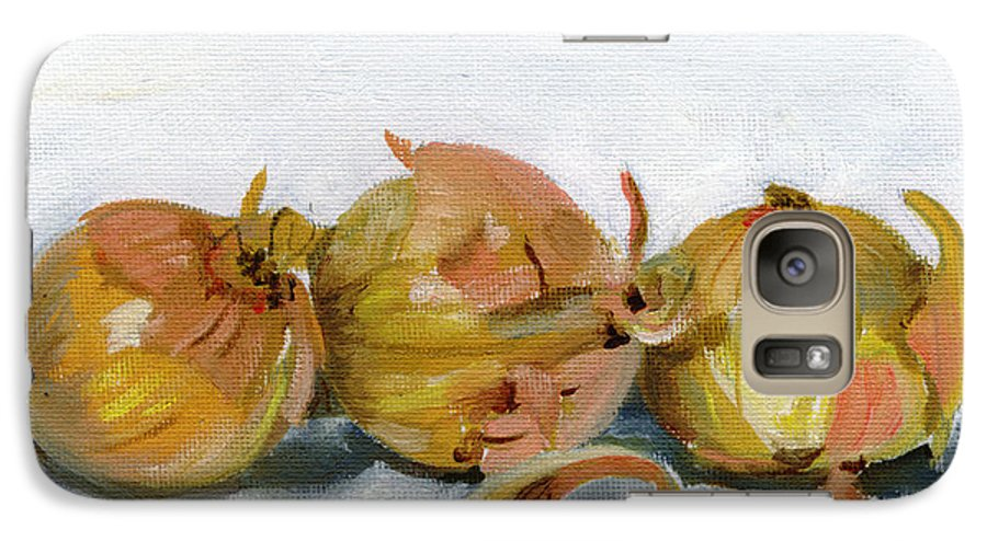 Food Galaxy S7 Case featuring the painting Three Onions by Sarah Lynch