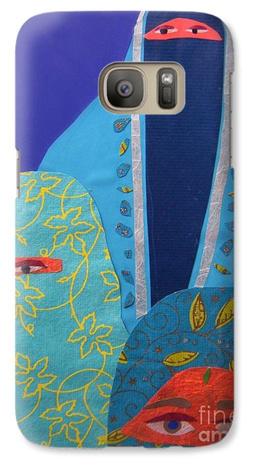 Women Galaxy S7 Case featuring the painting Three Women In Burkhas by Debra Bretton Robinson