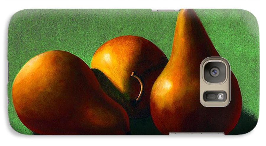 Still Life Galaxy S7 Case featuring the painting Three Yellow Pears by Frank Wilson