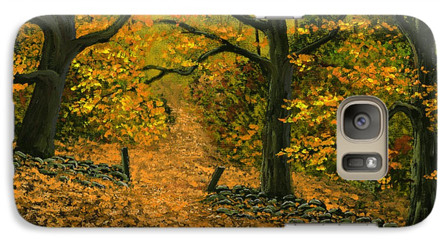 Landscape Galaxy S7 Case featuring the painting Through The Fallen Leaves by Frank Wilson