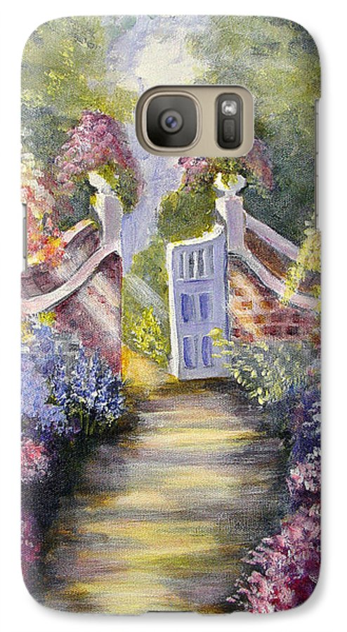 Flowers Galaxy S7 Case featuring the painting Through The Garden Gate by Quwatha Valentine