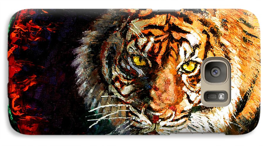 Tiger Galaxy S7 Case featuring the painting Through The Ring Of Fire by John Lautermilch