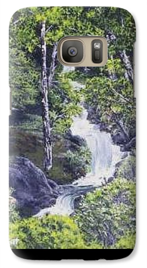 This Is A Lovely Waterfall We Saw On The Way Back Home From Mount Hood Oregon. Galaxy S7 Case featuring the painting Through The Woods by Darla Boljat