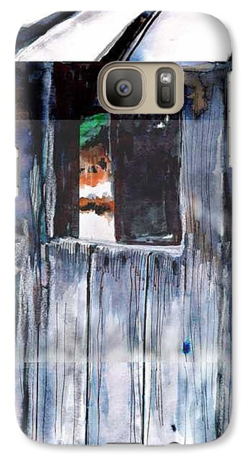 An Old Mysterious Barn With Deep Dark Shadows And Secrets. Rustic And Moody. Galaxy S7 Case featuring the drawing Thru The Barn Window by Seth Weaver