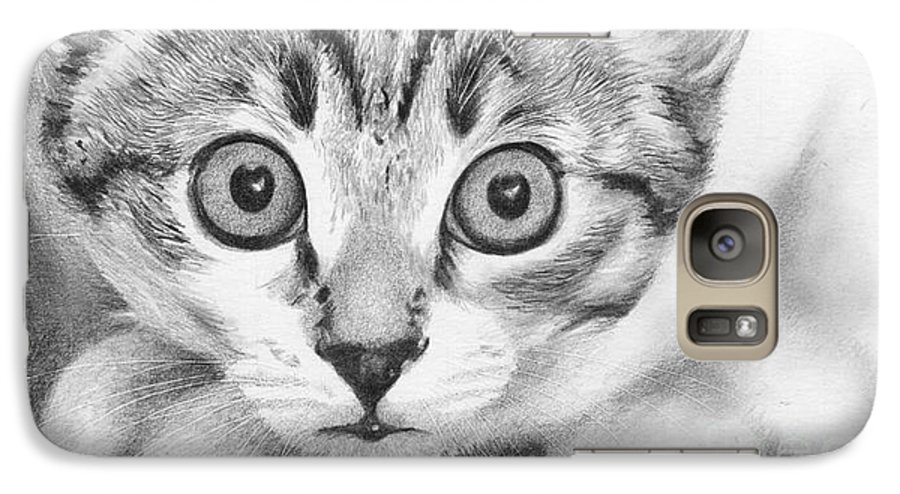 Cat Galaxy S7 Case featuring the drawing Tiddles by Karen Townsend