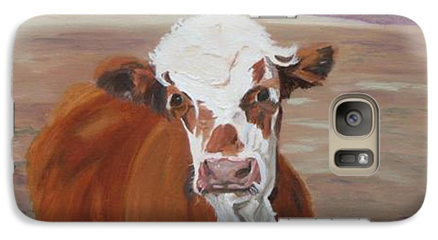 Cow Calf Farmscene Galaxy S7 Case featuring the painting Tiffany by Paula Emery