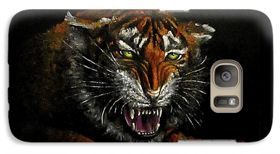 Animal Galaxy S7 Case featuring the painting Tiger-1 Original Oil Painting by Natalja Picugina