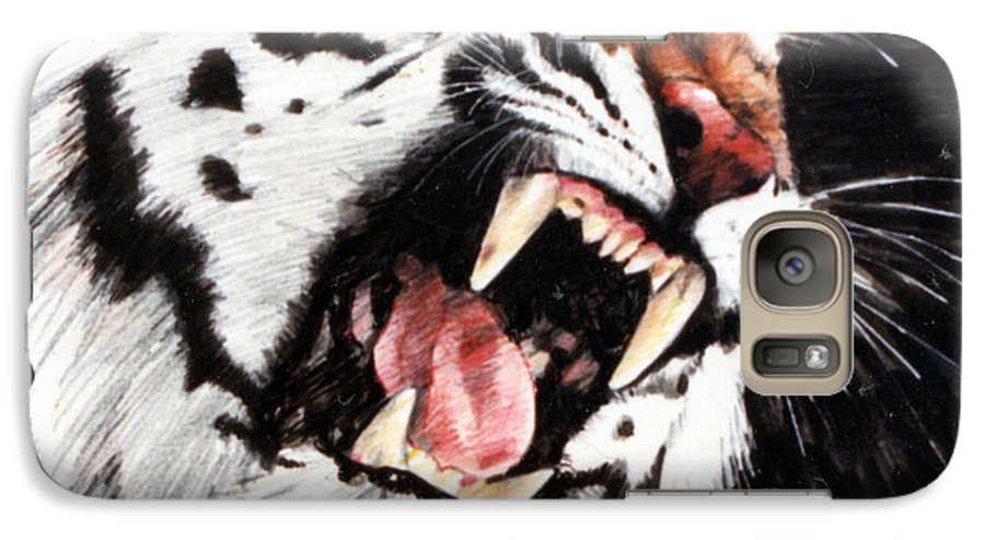 Tiger Roaring Galaxy S7 Case featuring the painting Tiger by John Lautermilch