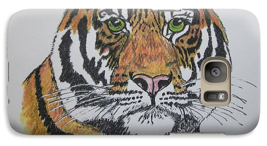 Bengal Galaxy S7 Case featuring the painting Tiger by Kathy Marrs Chandler
