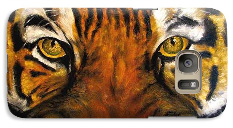 Tiger Galaxy S7 Case featuring the painting Tiger Mask Original Oil Painting by Natalja Picugina