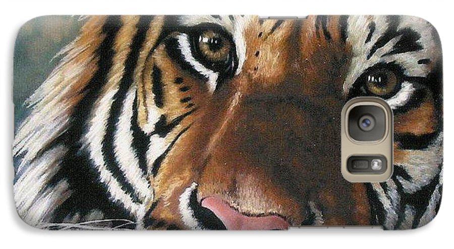 Tiger Galaxy S7 Case featuring the pastel Tigger by Barbara Keith