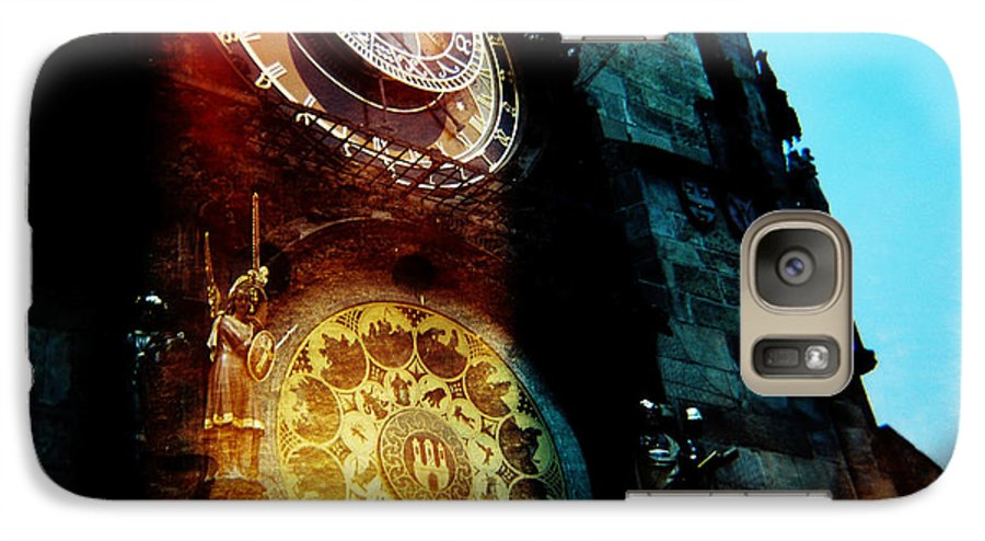 Clock Time Holga Color Photograph Praha Galaxy S7 Case featuring the photograph Time Is Burning by Olivier De Rycke