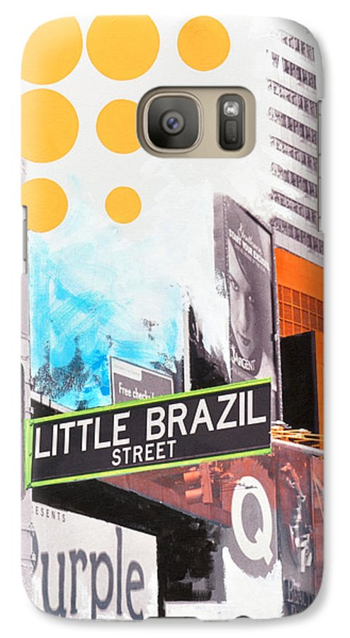 Ny Galaxy S7 Case featuring the painting Times Square Little Brazil by Jean Pierre Rousselet