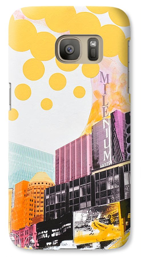 Ny Galaxy S7 Case featuring the painting Times Square Milenium Hotel by Jean Pierre Rousselet