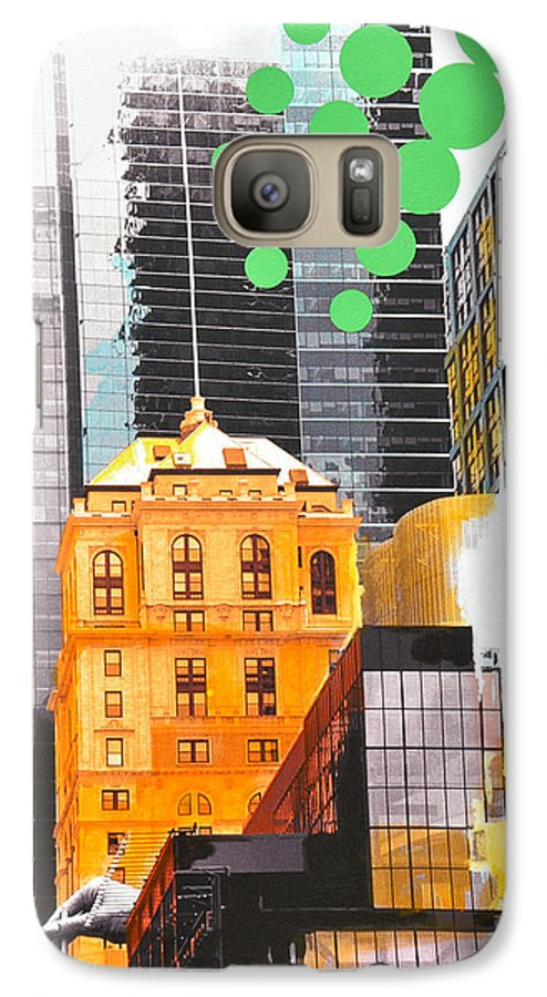 Ny Galaxy S7 Case featuring the painting Times Square Ny Advertise by Jean Pierre Rousselet
