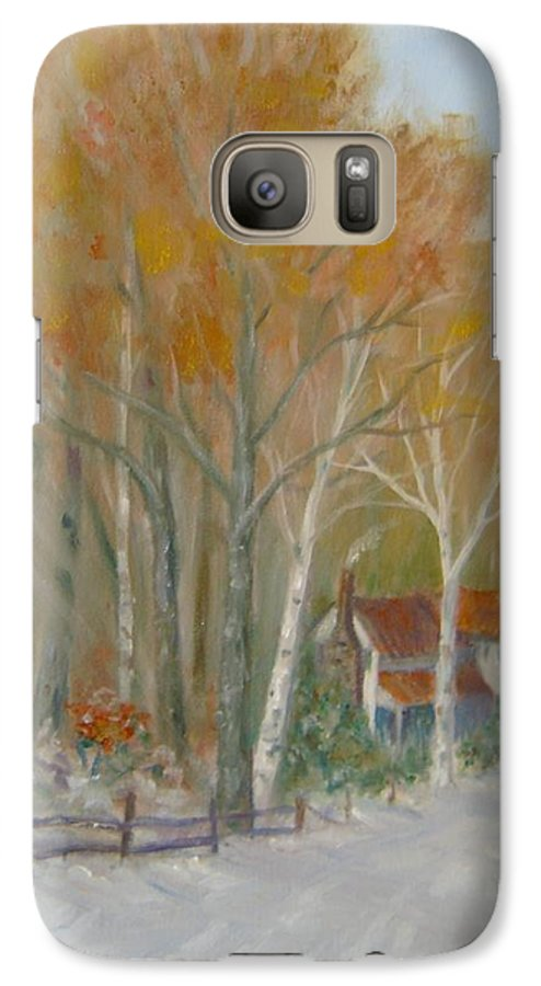 Country Road; House; Snow Galaxy S7 Case featuring the painting To Grandma's House by Ben Kiger