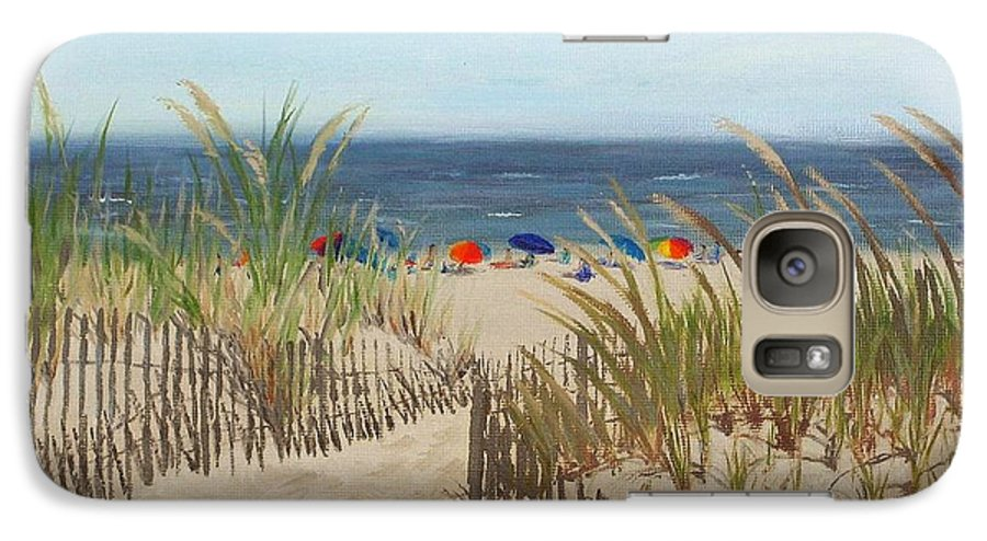 Beach Galaxy S7 Case featuring the painting To The Beach by Lea Novak
