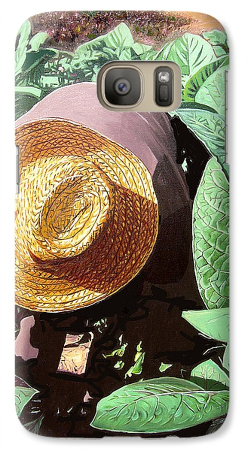 Tobacco Galaxy S7 Case featuring the painting Tobacco Picker by Jose Manuel Abraham